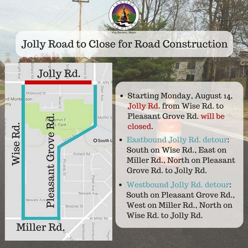 Map of Jolly Road closure