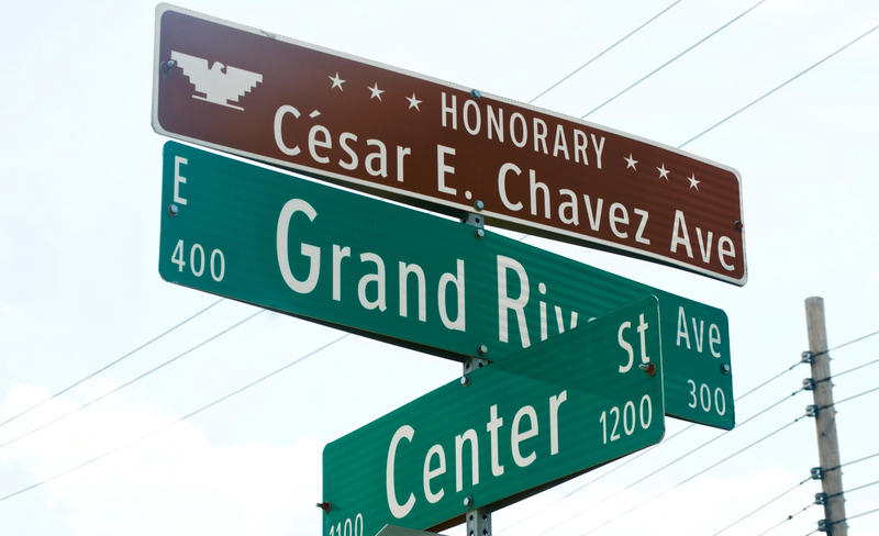 The current signs that mark Grand River Avenue as Honorary Cesar E. Chavez Avenue