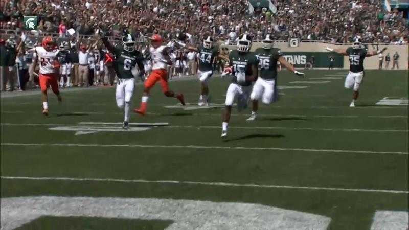 MSU Spartan Tyson Smith running in a touchdown during game against Bowling Green on September 2, 2017. Screengrab from MSU Spartan Football video.