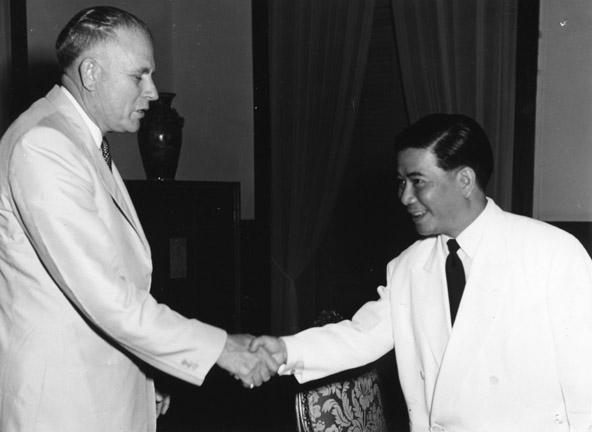 During his visit to Saigon, MSU President John Hannah shakes the hand of South Vietnamese President Ngo Dinh Diem