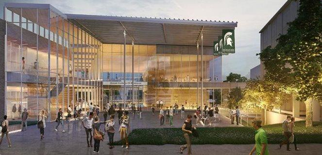 Artist rendering of new MSU Business Pavilion