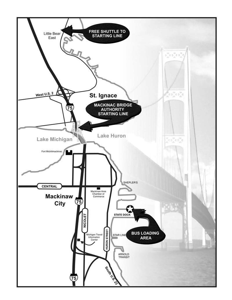 Map for Mackinac Bridge Walk