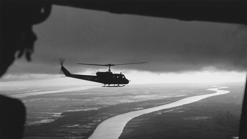 black and white helicopter