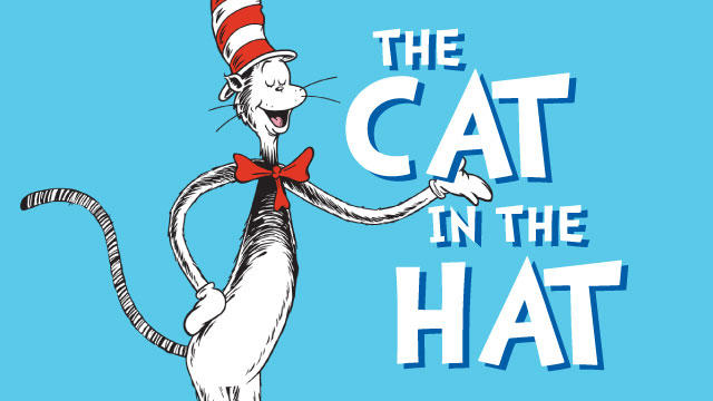 the cat in the hat with blue background