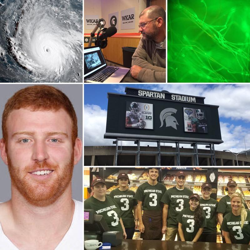 Top row: Hurricane Irma, MSU professor Nathan Moore, spider silk; Lower left: Dallas Cowboys QB Cooper Rush; Right: MSU Spartan Stadium; Lower Right: Dunkin Donuts employees in Okemos