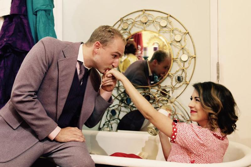 Alex Quinlan as Kodaly and Sarah Hayner as Ilona in Riverwalk Theatre's She Loves Me
