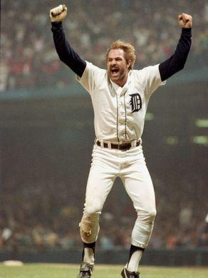 Kirk Gibson celebrates his second home run in Game 5 of the 1984 World Series.