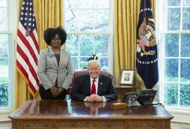 Matinga Ragatz (left) with President Donald Trump at The White House.