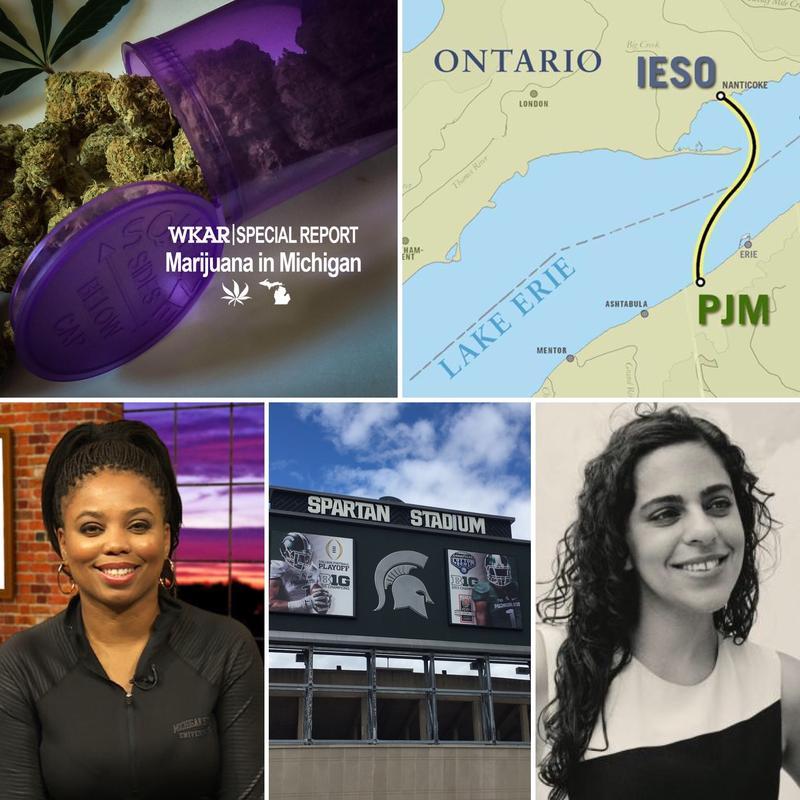 Top Row: Medical marijuana in Michigan, Map of electric line proposed for under Lake Ontario; Bottom row: ESPN's Jamele Hill, MSU's Spartan Stadium, Blurred Lines author Vanessa Grigoriadis