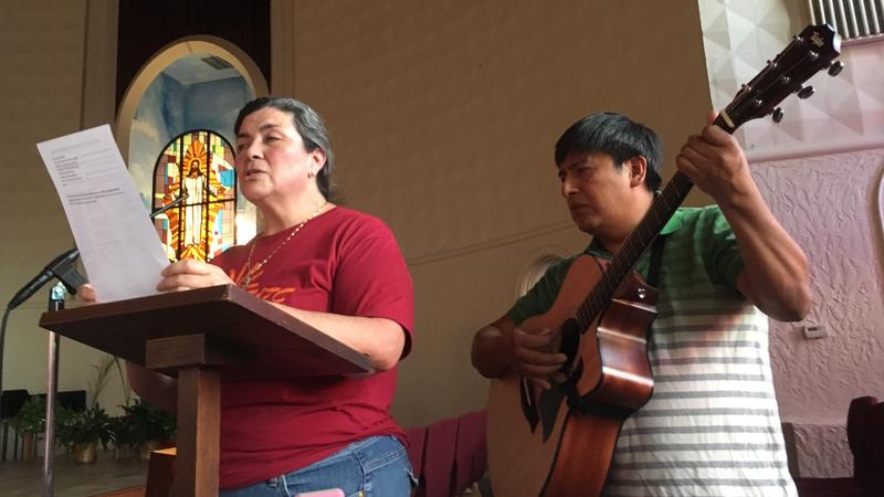Singer and guitar player during Sept. 20, 2017 church service
