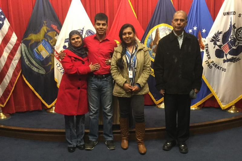 Raheel Siddiqui (second from left), a Muslim Marine recruit who died in March 2016 at Marine Corps Recruit Depot Parris Island in South Carolina, stands with his father Masood (far right), mother Ghazala (far left) and sister Sidra (second from right). (C