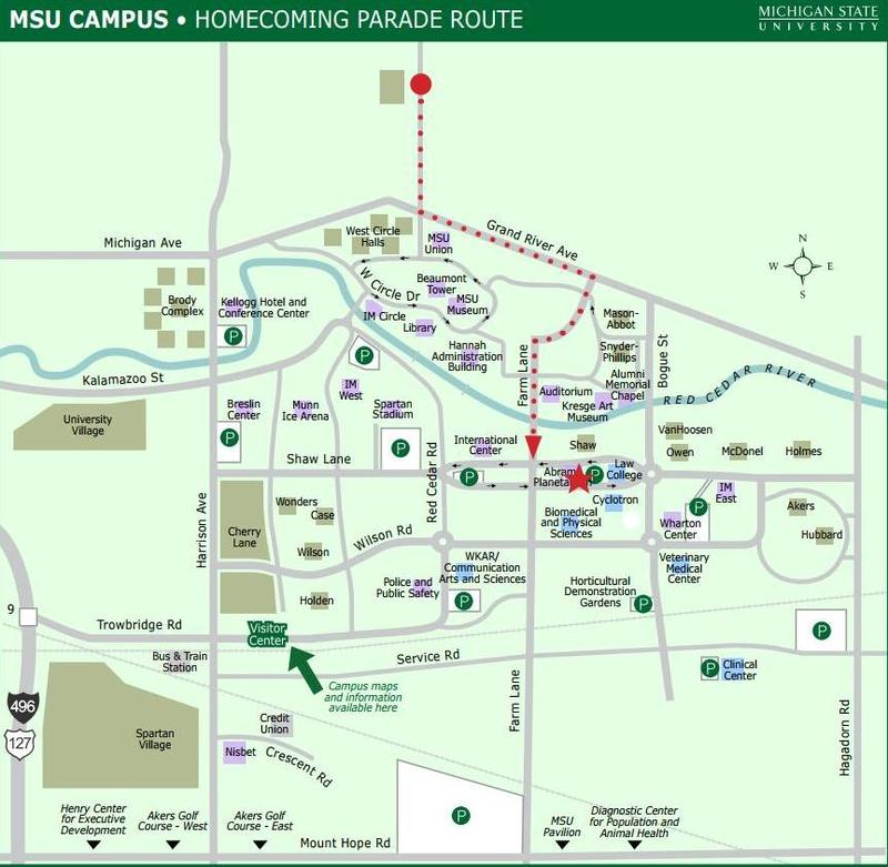 MSU 2017 homecoming parade map; Red dotted line is the parade route.