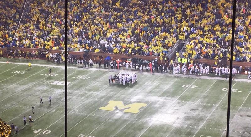 Heavy rain during the MSU vs. University of Michigan game in Ann Arbor on October 7, 2017.