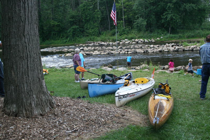 2010 Grand River Expedition when the paddlers travelling down the Grand River stopped at Dimondale at the former dam site.  The picture shows the Grand River that cuts through the heart of the Village.