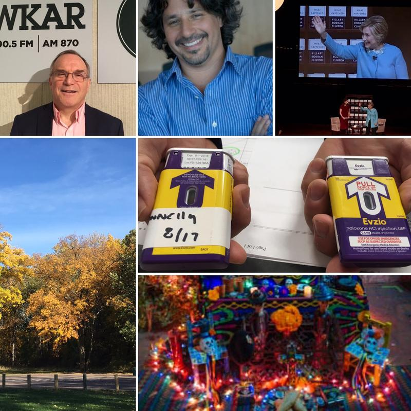 Top row: MSU professors Dr. Jed Magen, John Valadez; Hillary Rodham Clinton; bottom left: Lansing park; Center right: East Lansing police overdose medicine; Bottom right: Dia de los Muertos altar