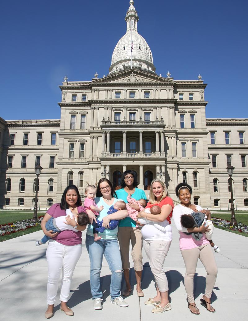 Moms with babies in front of the state Capitol photo