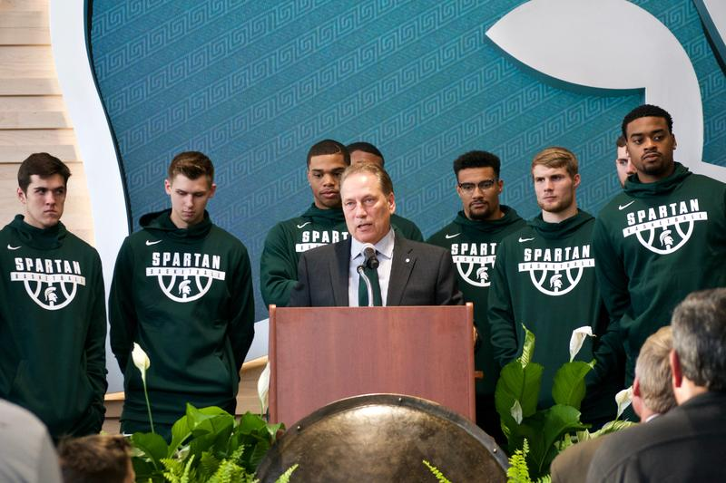 Coach Tom Izzo and MSU men's basketball team at the celebration of the new Gilbert Pavilion.