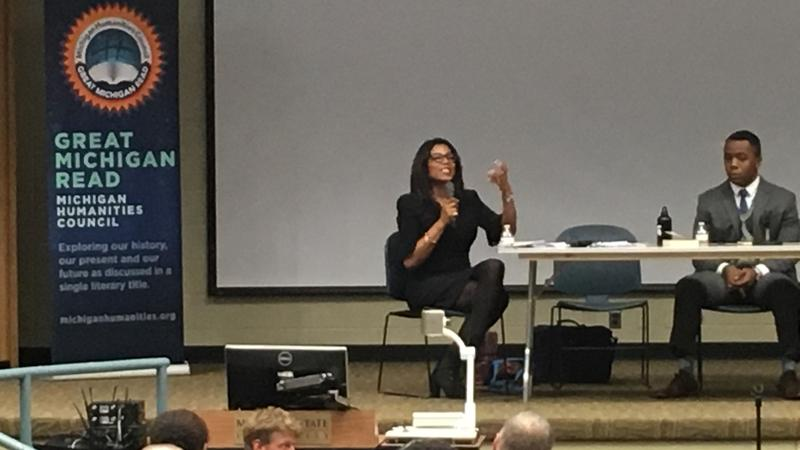 Ilyasah Shabazz addresses a crowd at MSU's Ericson Kiva on October 12, 2017. Her father Malcolm X spoke in the same room in 1963.