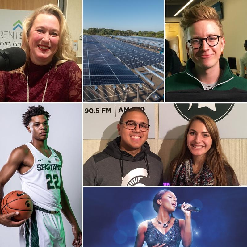 Top row: Dr. Christina DeJong, Carport solar panels, Tyler Oakley; Lower left: Miles Bridges; Middle right: Sergio Martinez Beltran & Amanda Barberena