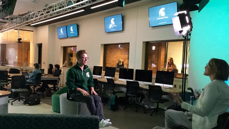 Tyler Oakley being interviewed in the MSU Communication Arts & Sciences building on October 19, 2017.