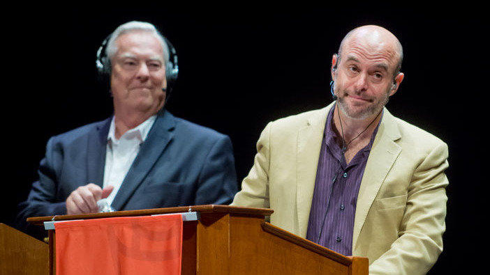 "Left: Bill Curtis, right: host Peter Sagal of ""Wait Wait...Don't Tell Me!"" on NPR."
