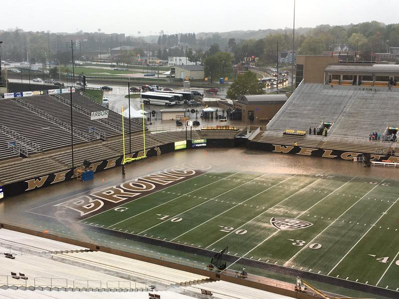 Flooded football field at Western Michigan University.