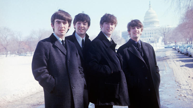 Musical group, The Beatles, poses for a picture in Washington DC