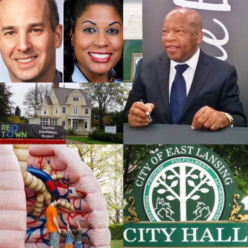 Clockwise from top left: Lansing mayoral candidates Andy Schor (left) and Judi Brown Clarke (right); Congressman John Lewis; East Lansing City Hall sign; Human lung model displayed at Sparrow Hospital's Herbert-Herman Cancer Center;  Cooley Haze House