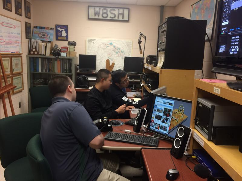 Members of the MSU Amateur Radio Club gather together while deciding where to rotate the club's antenna.