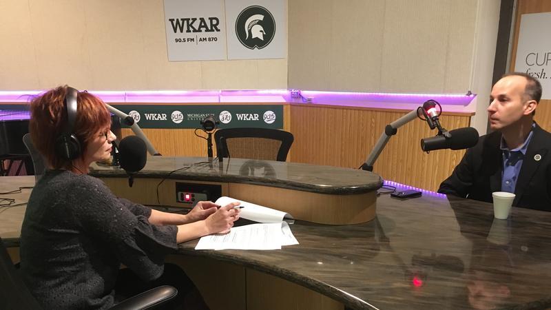 WKAR's Brooke Allen talking with Lansing mayor-elect Andy Schor on November 8, 2017.