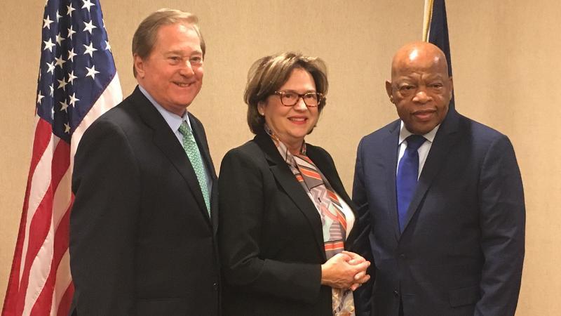 Former Michigan Gov. James Blanchard (left), Janet Blanchard (center), Rep. John Lewis (right) during October 2017 visit to MSU.