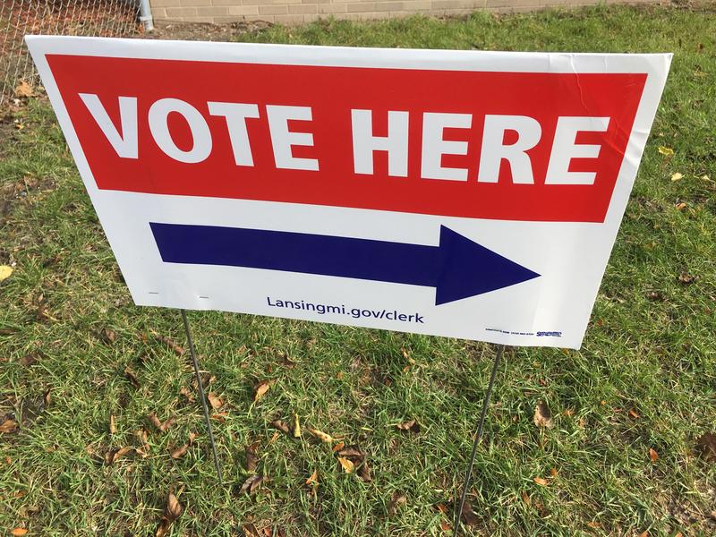Vote Here sign in Lansing, Michigan