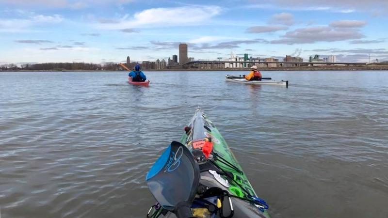 View of Traci Lynn Martin as she kayaks around the Buffalo, New York area.