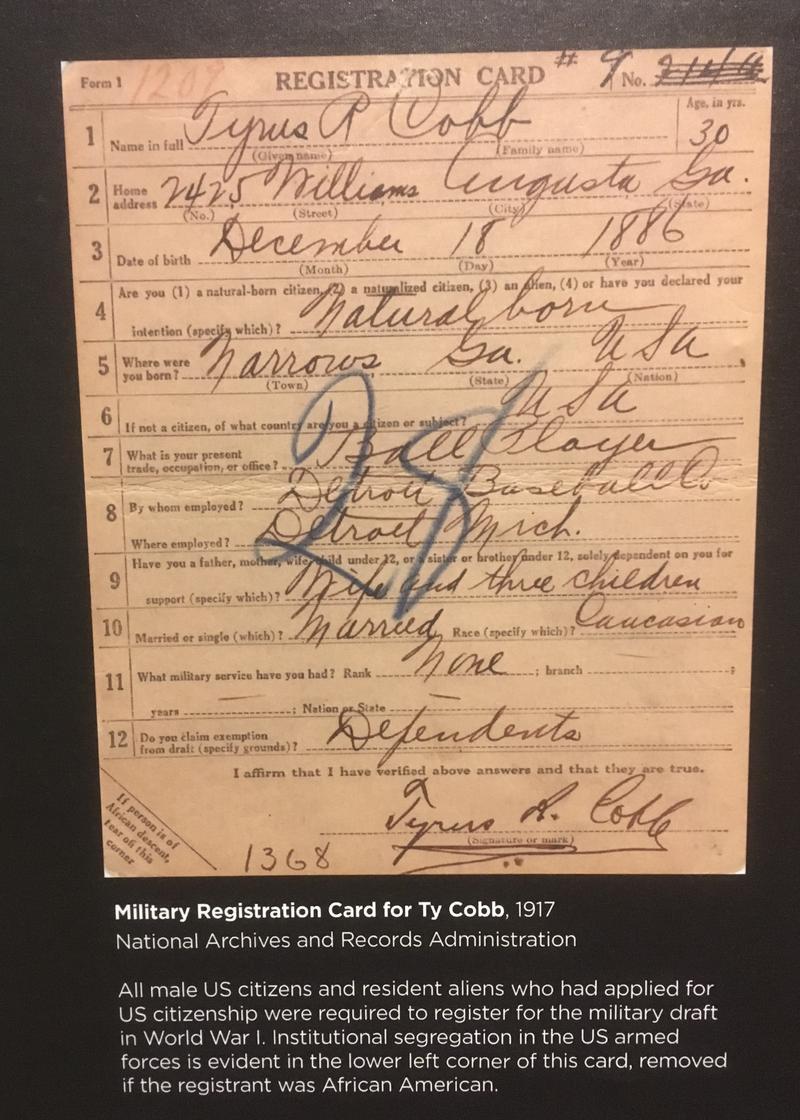 Ty Cobb's service registration form