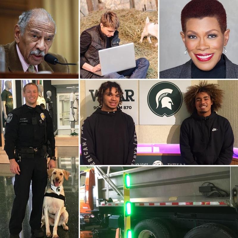 Top row: Rep. John Conyers, Broadband User, Journalist Rochelle Riley; Bottom Left: MSU police officer & K9; Middle right: Matthew Abdullah (left) and Michael Lynn III (right); Bottom right: MDOT snow plow