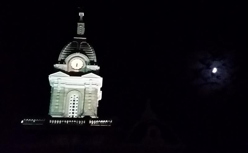 clock tower and moon