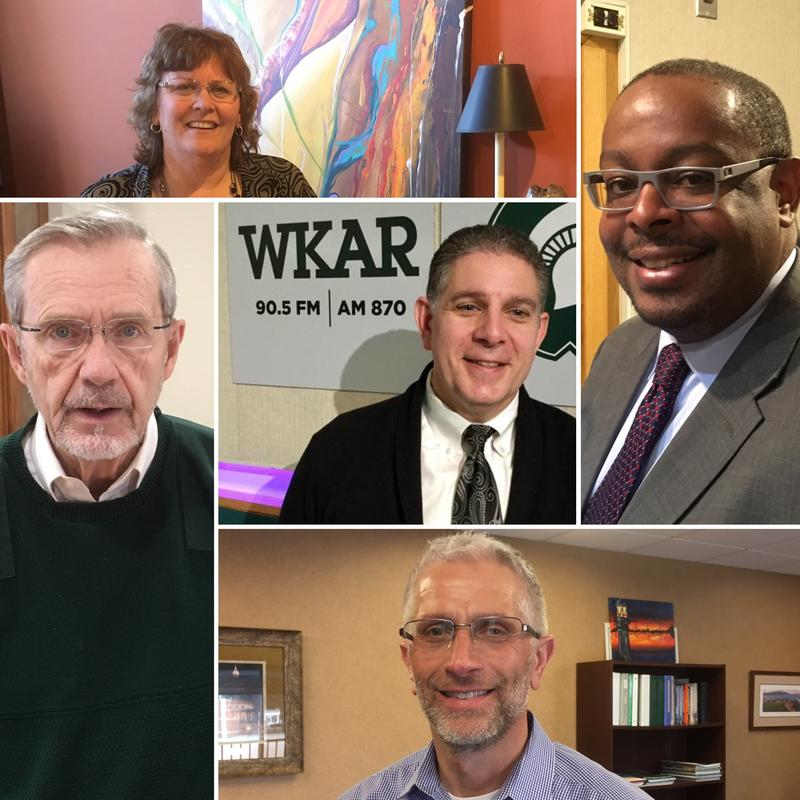 Photos of Virg Bernero, Debbie Mikula, Tony Baltimore, Tim Daman and David Hollister.