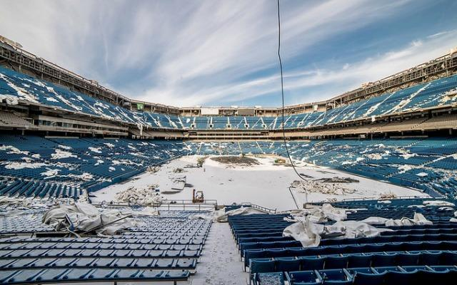 A view of the dilapidated Pontiac Silverdome.