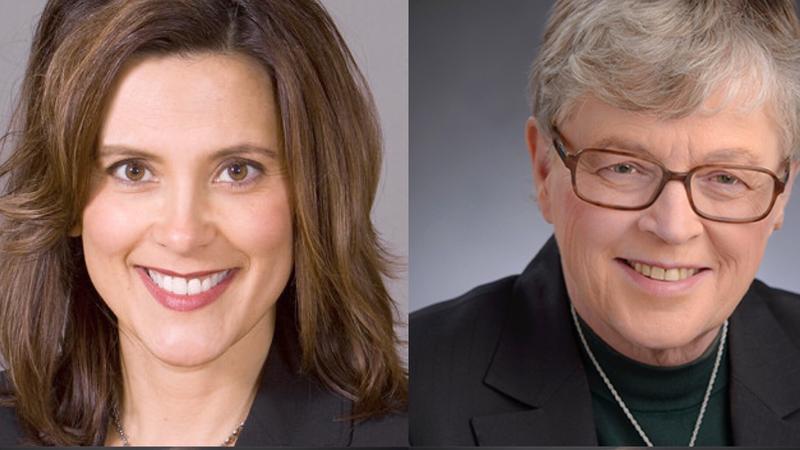 Michigan Democratic gubernatorial candidate Gretchen Whitmer (left), MSU President Lou Anna K. Simon (right)