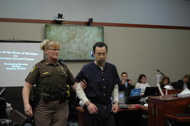 Larry Nassar being escorted into Ingham County Courtroom on January 22, 2018.