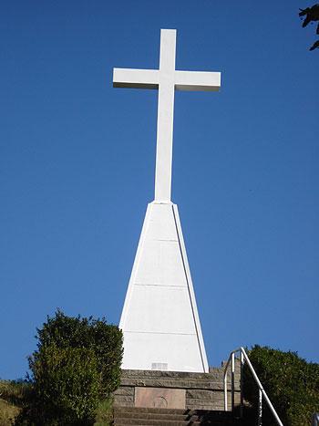 The Father Marquette cross in Ludington.