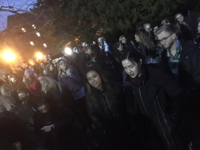 Hundreds of MSU students and supporters gathered Friday at The Rock