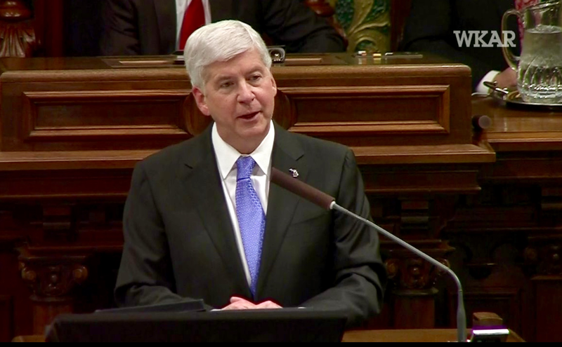 Gov. Rick Snyder giving State of the State speech on January 23, 2018.