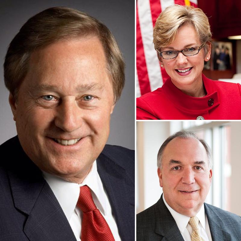 Left: former MI Gov. James Blanchard; Top right: former MI Gov. Jennifer Granholm; Bottom right: former MI Gov. John Engler
