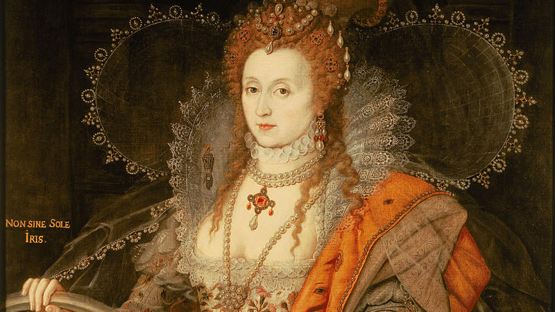 Key portrait of Queen Elizabeth I in a dress covered in eyes and ears which represents her spy network