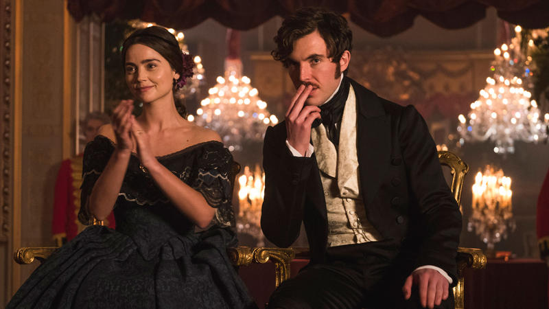 Shown from left to right: JENNA COLEMAN as Victoria and TOM HUGHES as Albert.