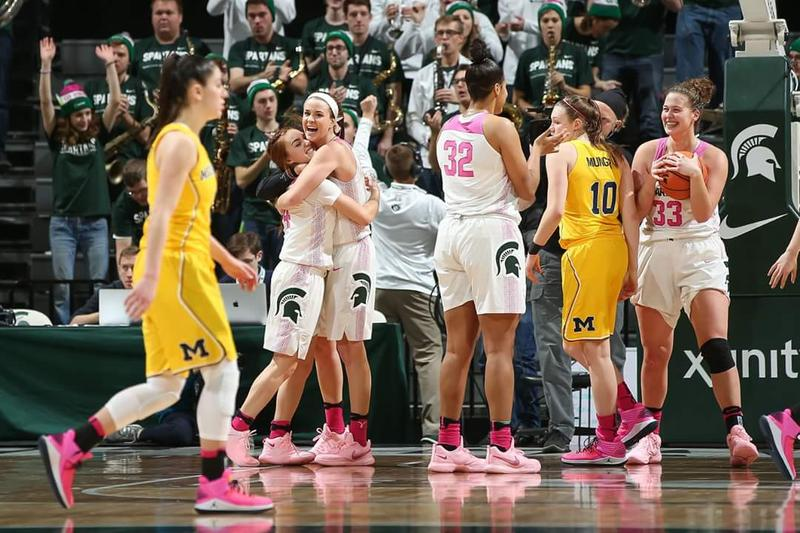 MSU women's basketball team played University of Michigan on February 11, 2018.