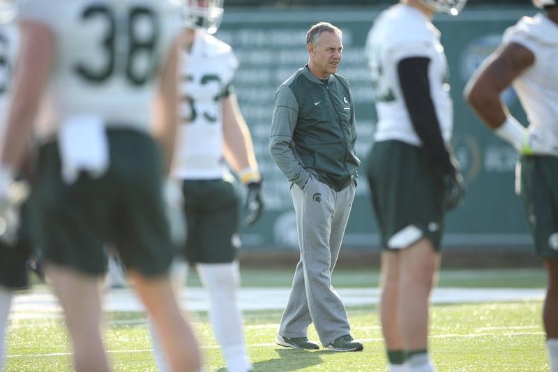 MSU football coach Mark Dantonio during practice on February 27, 2018.