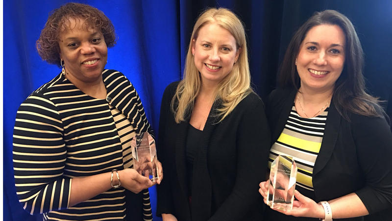 (l-r) Robin Pizzo, WKAR director of education; Susi Elkins, WKAR director of broadcasting and general manager; and Julie Sochay, WKAR content and community engagement manager all honored to accept two awards at the 2017 NETA conference on January 23.