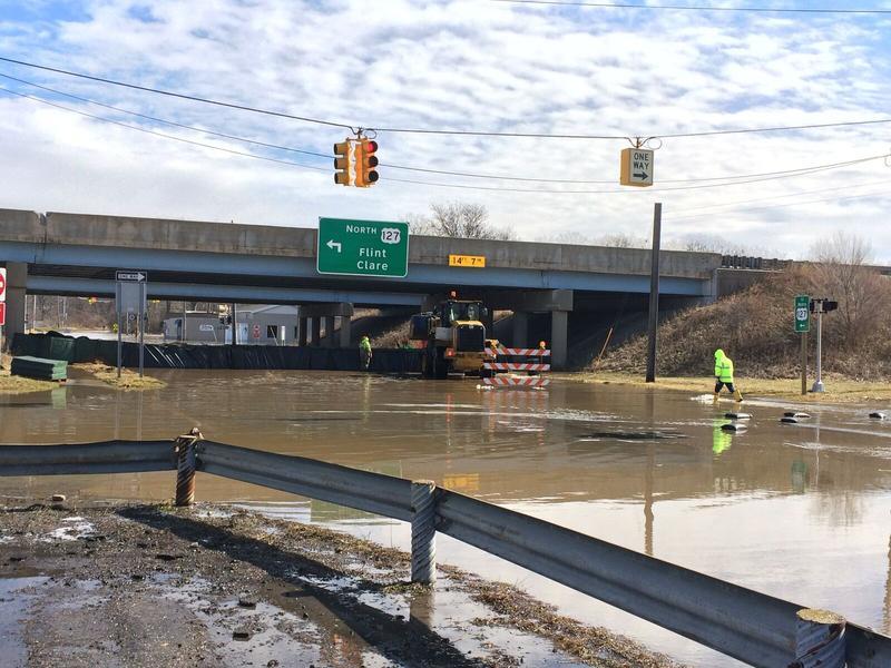 Kalamazoo Street under US 127 flooded during late February 2018.